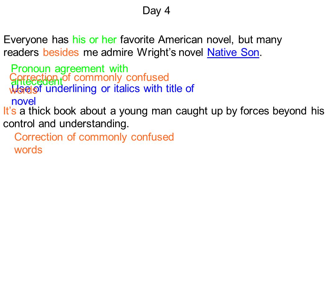 Day 4 Everyone has his or her favorite American novel, but many readers besides me admire Wright's novel Native Son.