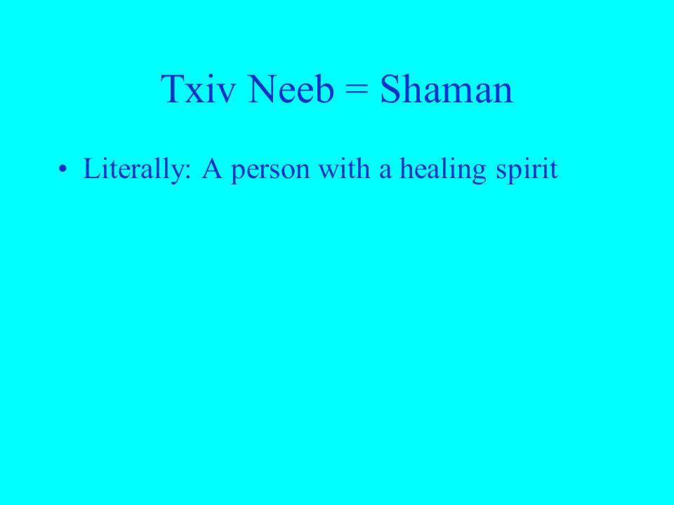 Txiv Neeb = Shaman Literally: A person with a healing spirit