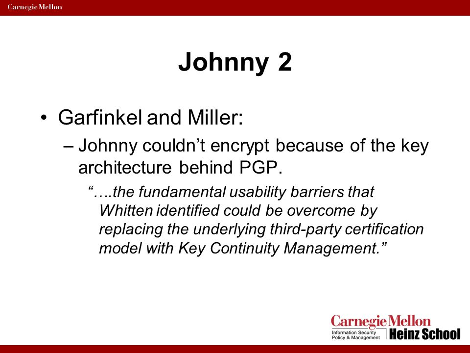 Johnny 2 Garfinkel and Miller: