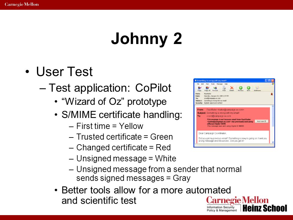 Johnny 2 User Test Test application: CoPilot Wizard of Oz prototype