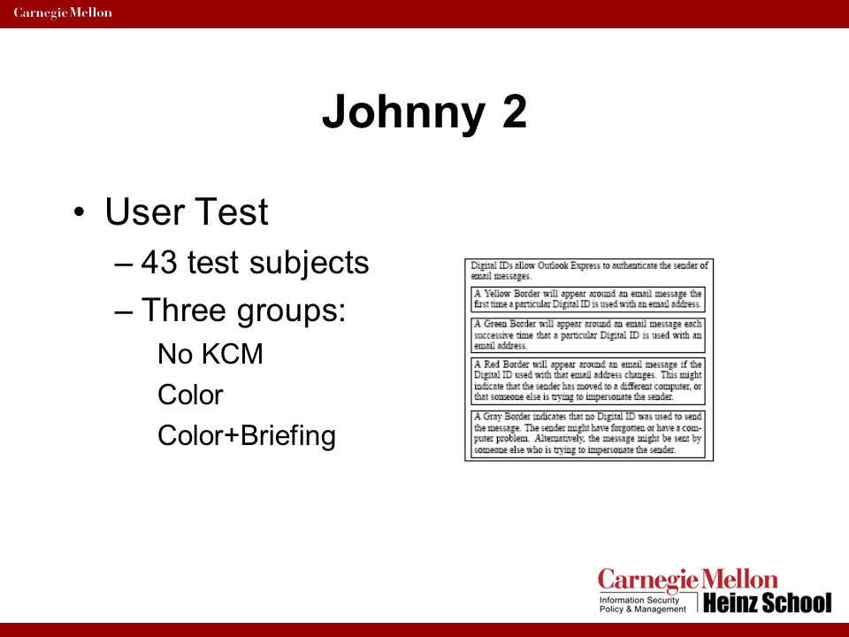Johnny 2 User Test 43 test subjects Three groups: No KCM Color