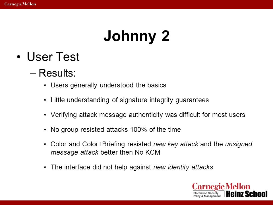 Johnny 2 User Test Results: Users generally understood the basics