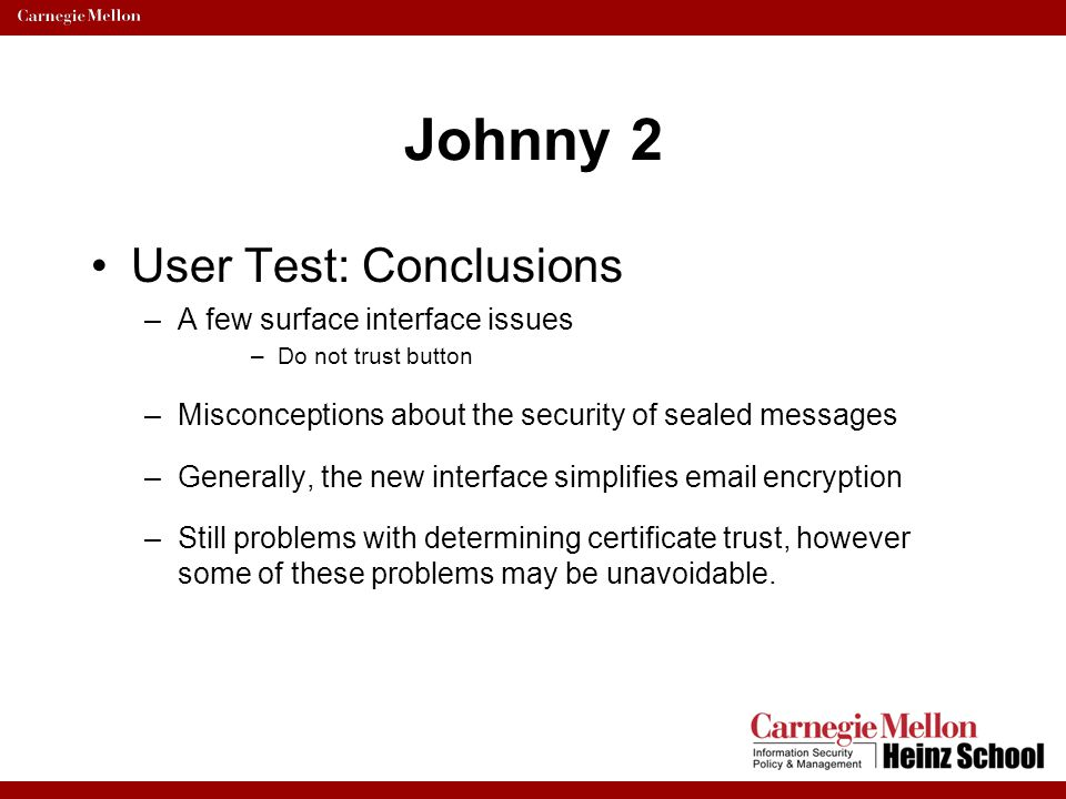 Johnny 2 User Test: Conclusions A few surface interface issues