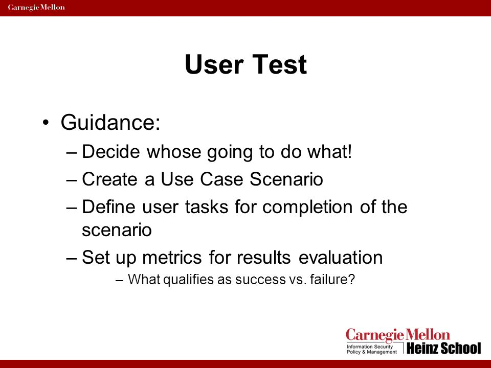 User Test Guidance: Decide whose going to do what!