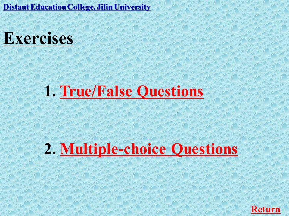 Exercises 1. True/False Questions 2. Multiple-choice Questions Return