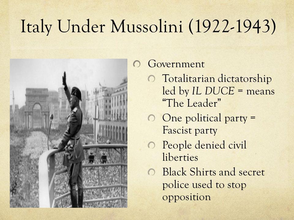 Italy Under Mussolini (1922-1943)