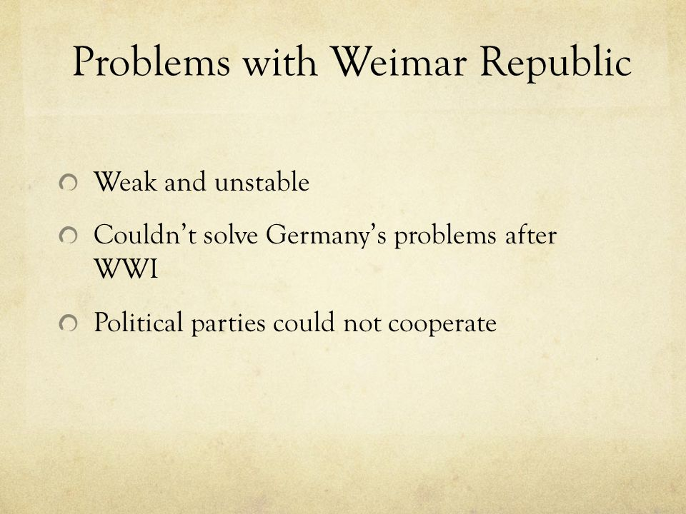 Problems with Weimar Republic