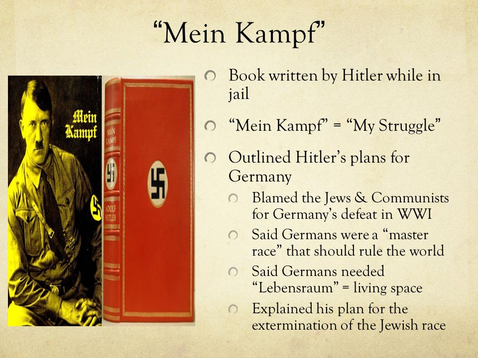 Mein Kampf Book written by Hitler while in jail