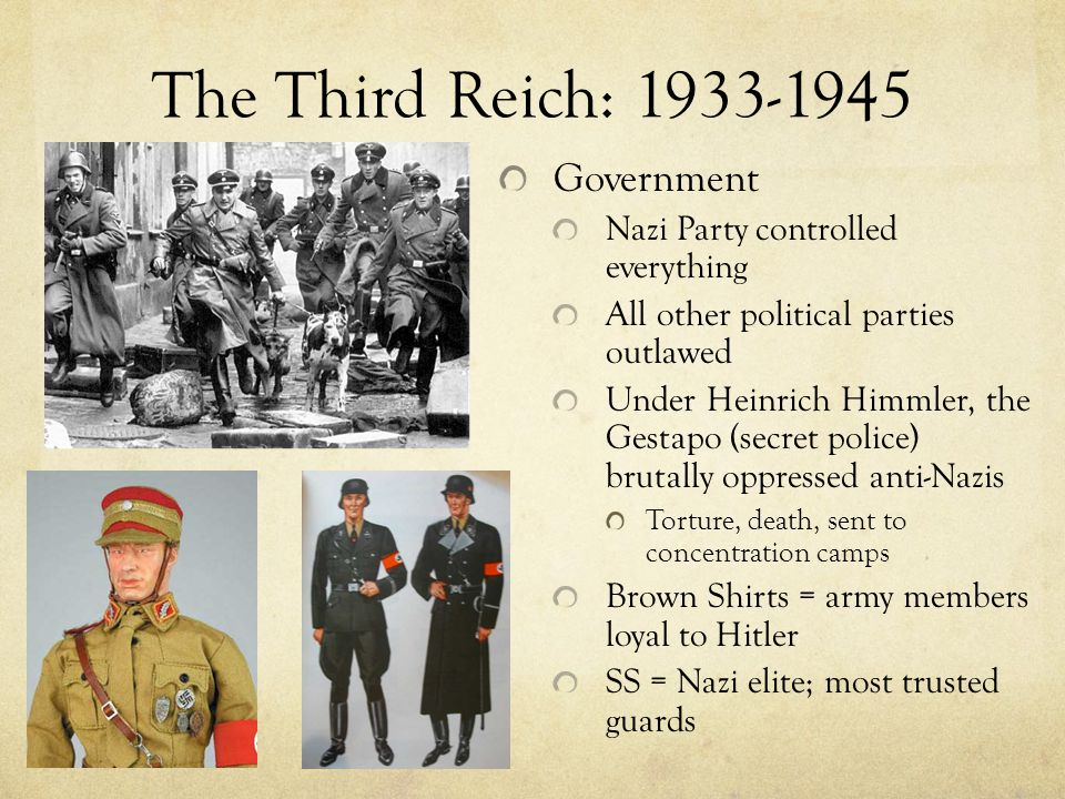 The Third Reich: 1933-1945 Government Nazi Party controlled everything