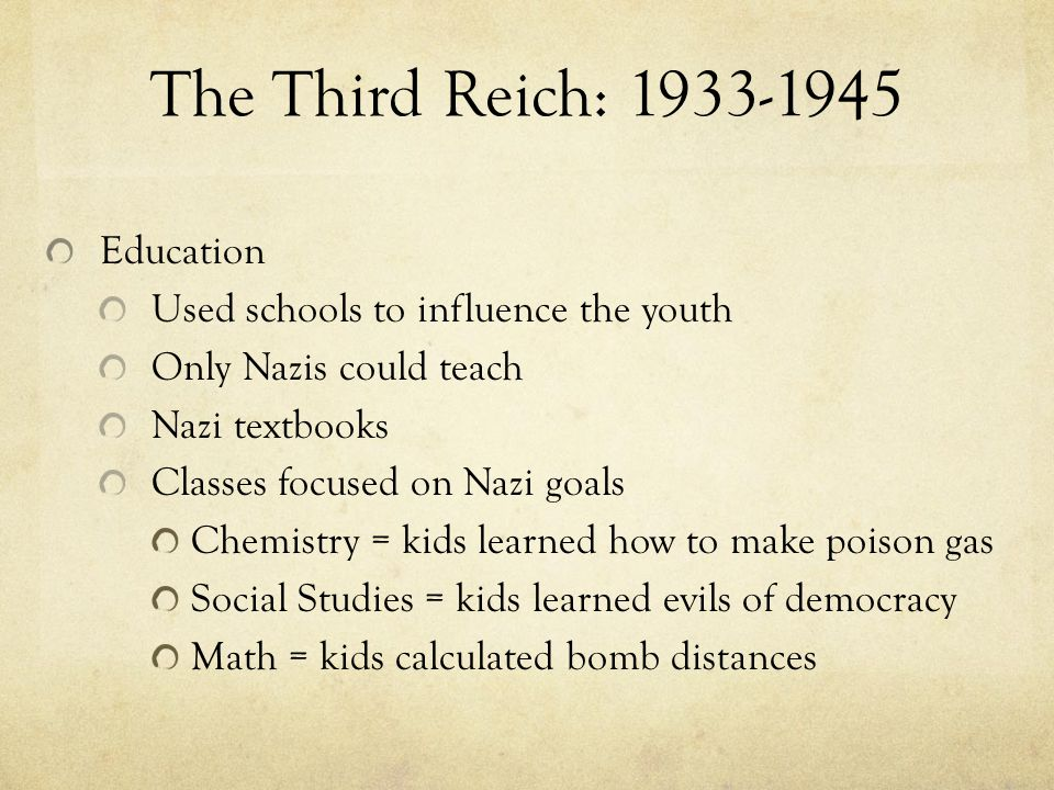 The Third Reich: 1933-1945 Education