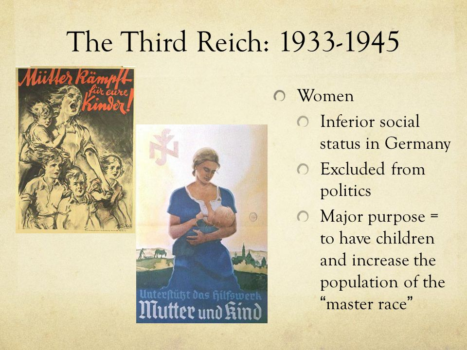 The Third Reich: 1933-1945 Women Inferior social status in Germany