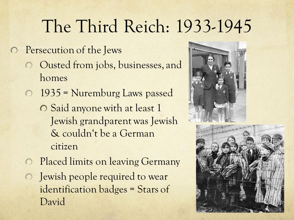 The Third Reich: 1933-1945 Persecution of the Jews