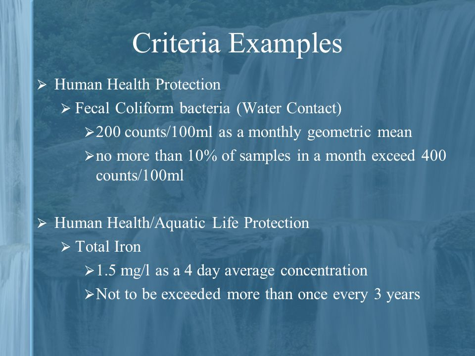 Criteria Examples Human Health Protection