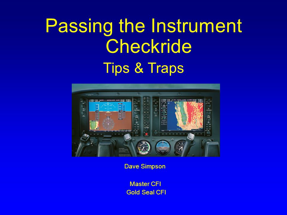 Passing the Instrument Checkride