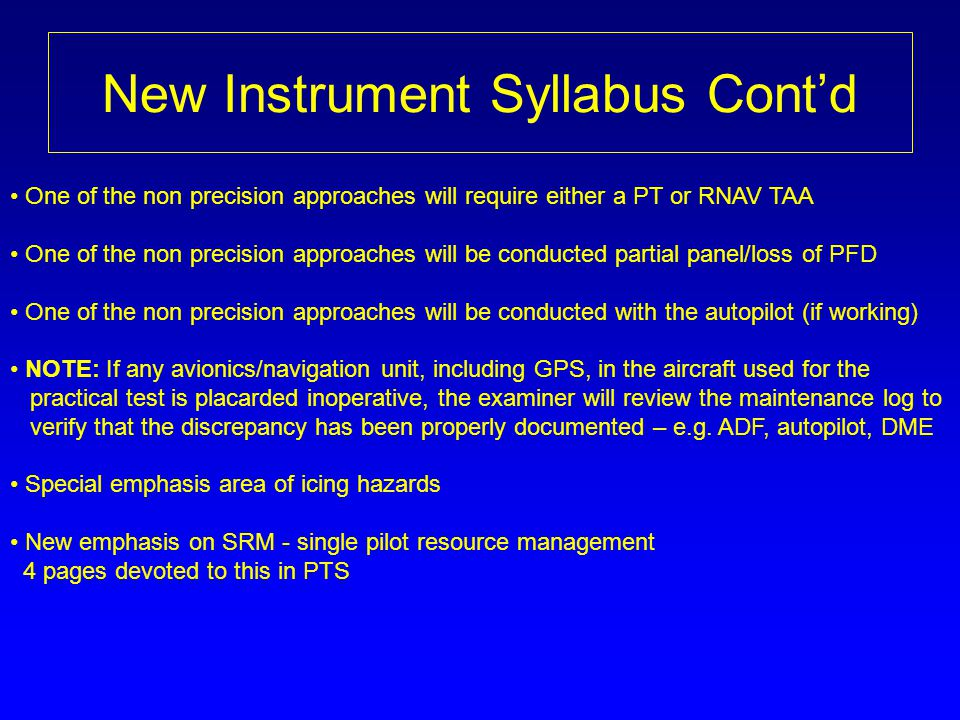 New Instrument Syllabus Cont'd