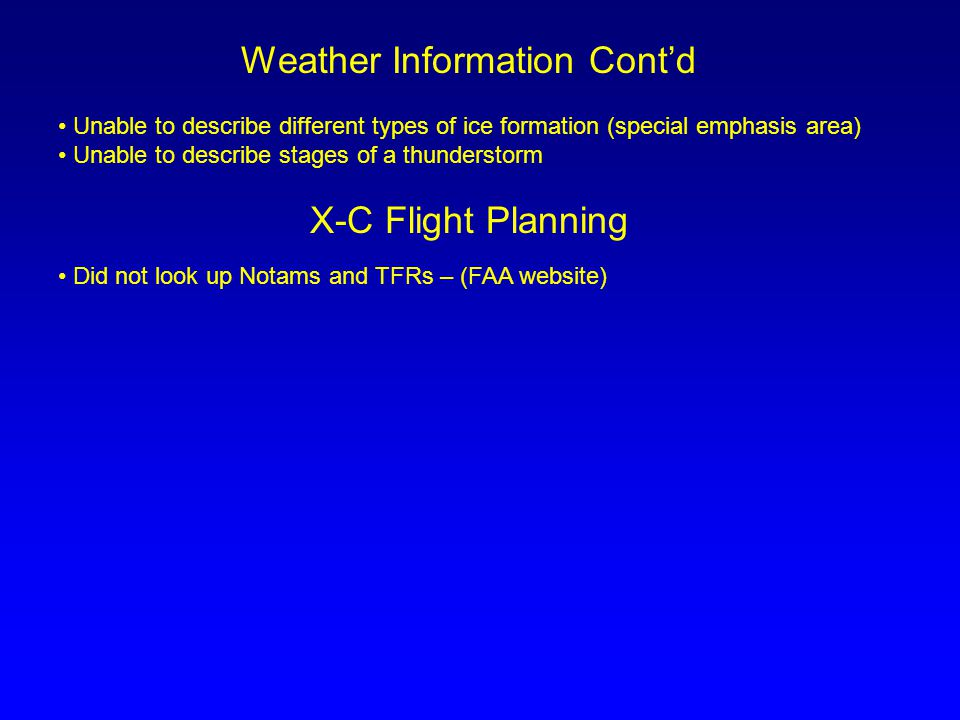 Weather Information Cont'd