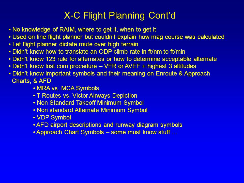 X-C Flight Planning Cont'd
