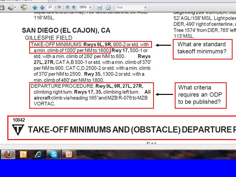 What are standard takeoff minimums What criteria requires an ODP to be published