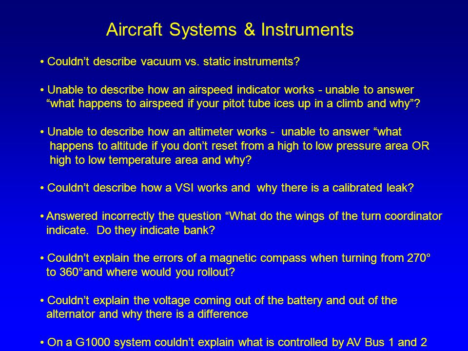 Aircraft Systems & Instruments