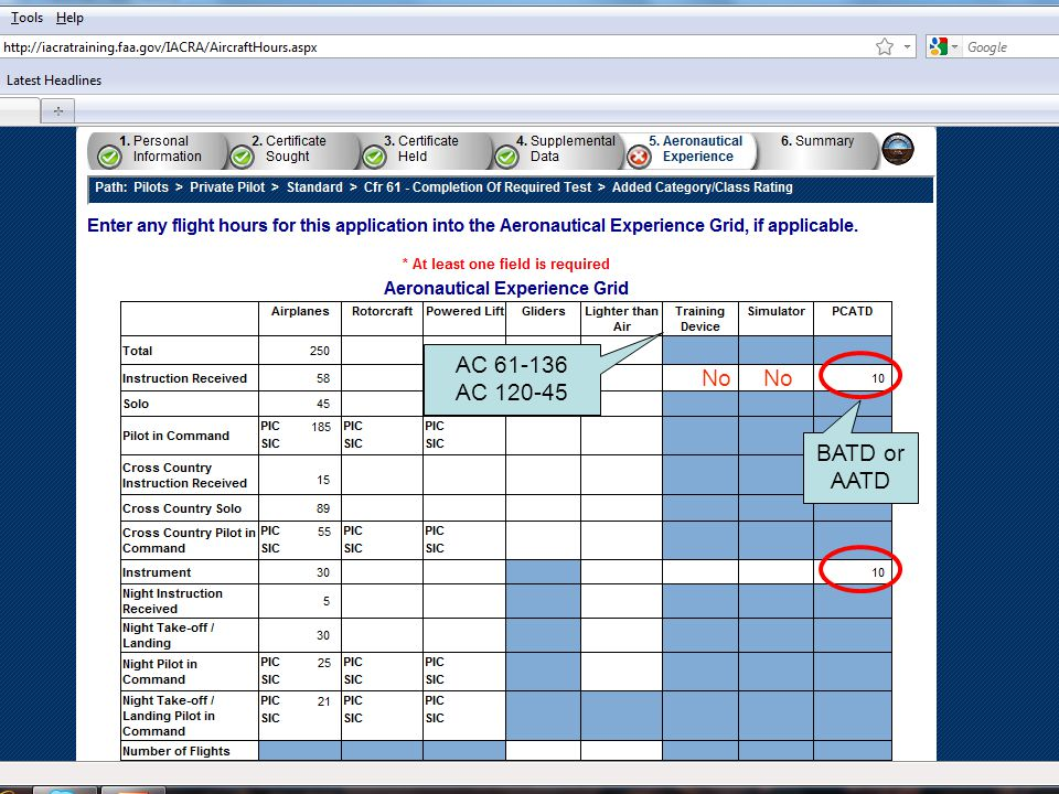 AC 61-136 AC 120-45 No No BATD or AATD