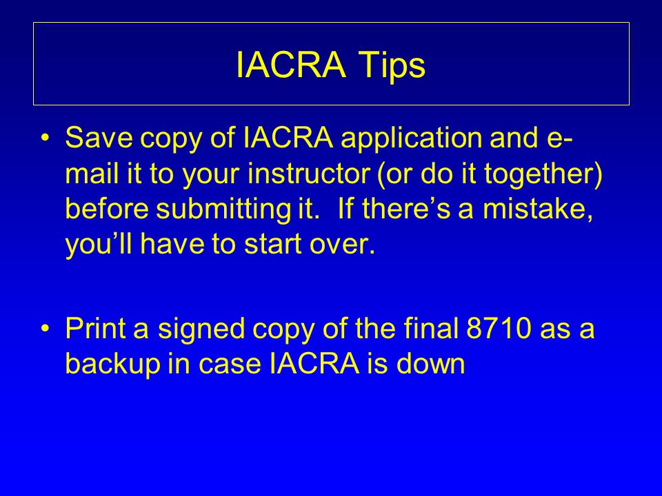 IACRA Tips