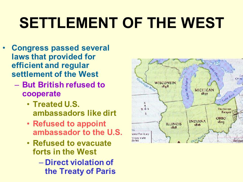 SETTLEMENT OF THE WEST Congress passed several laws that provided for efficient and regular settlement of the West.