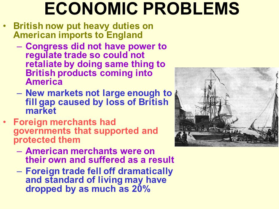 ECONOMIC PROBLEMS British now put heavy duties on American imports to England.