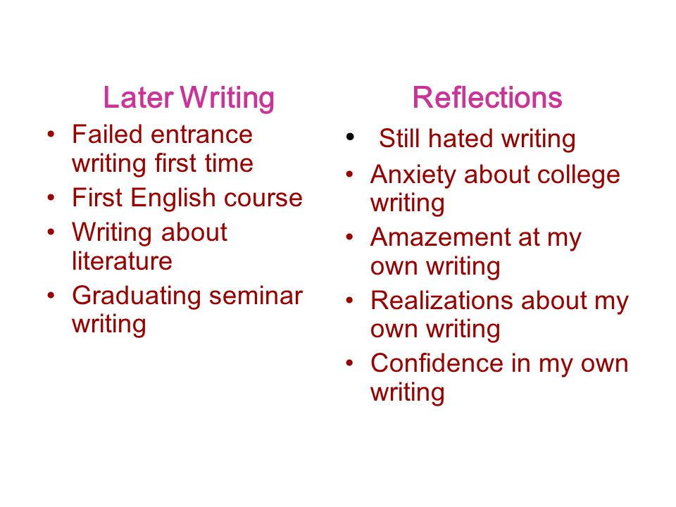Later Writing Reflections