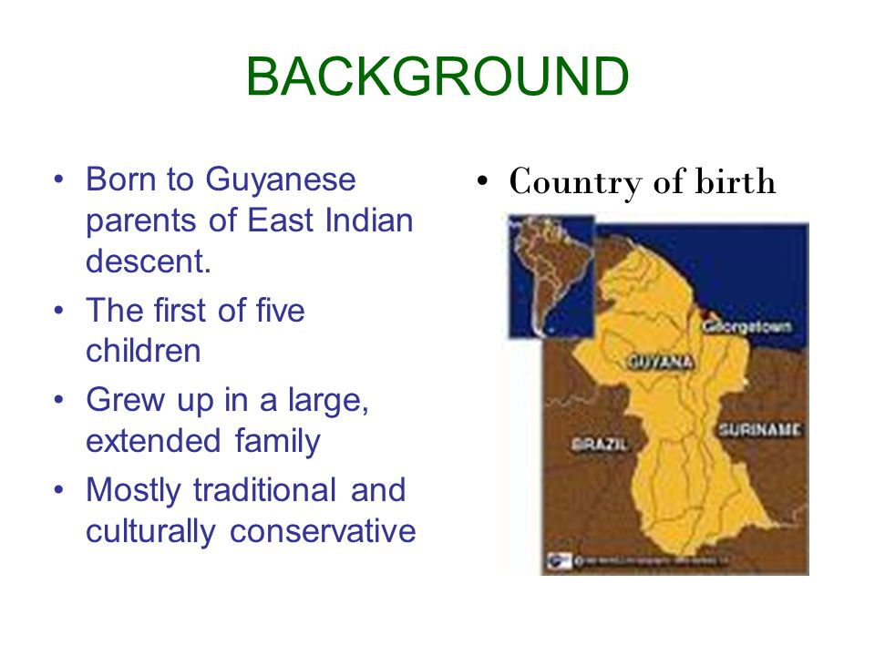 BACKGROUND Country of birth