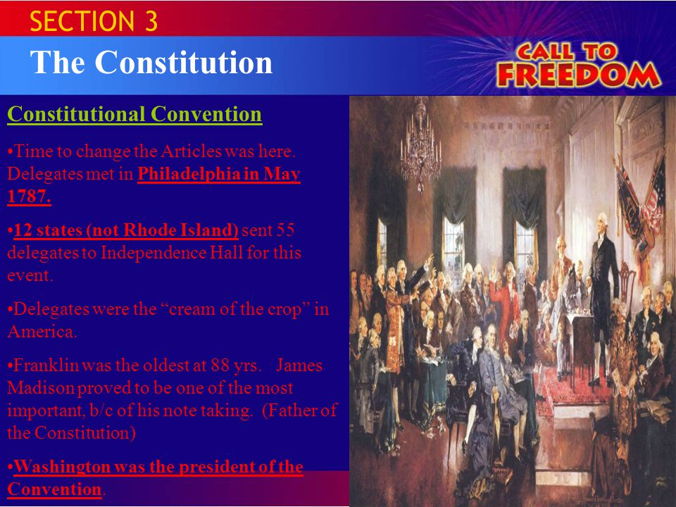 The Constitution SECTION 3 Constitutional Convention
