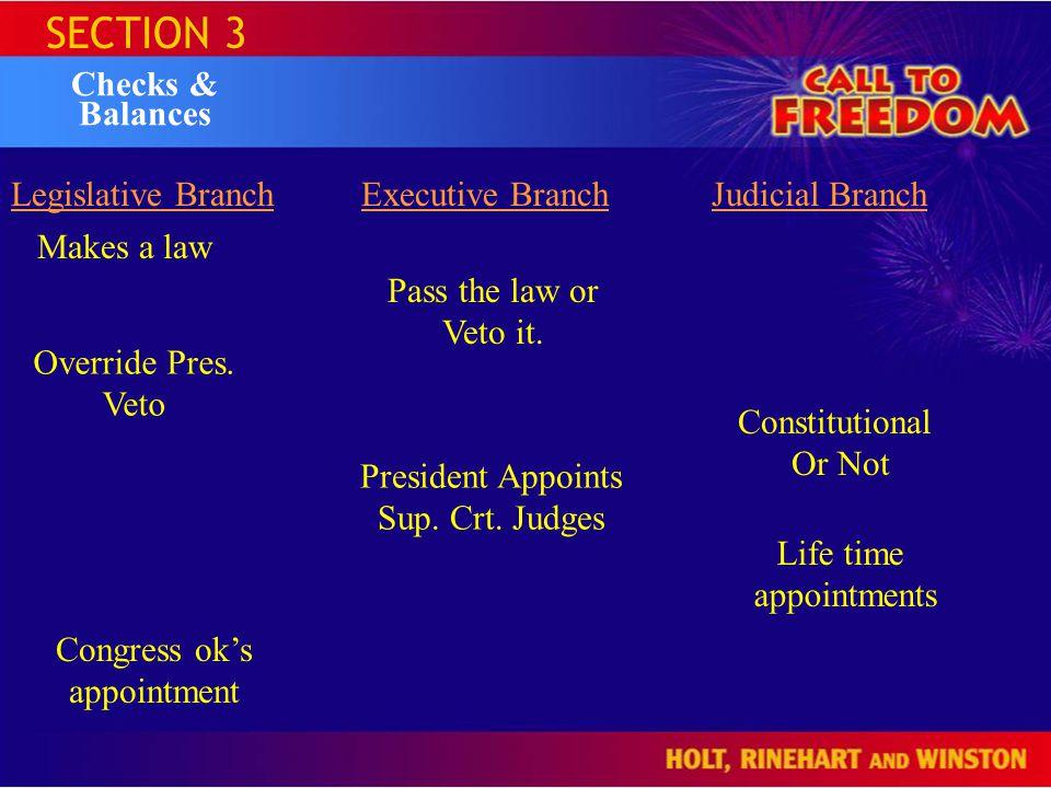 SECTION 3 Checks & Balances Legislative Branch Executive Branch