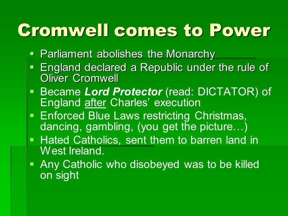 Cromwell comes to Power