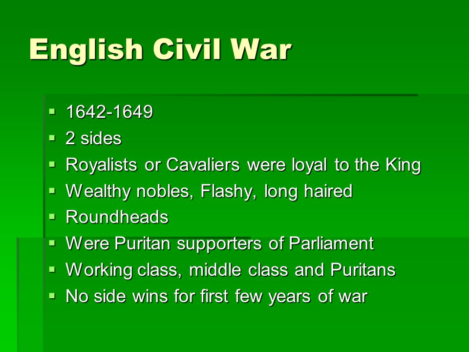 English Civil War 1642-1649 2 sides