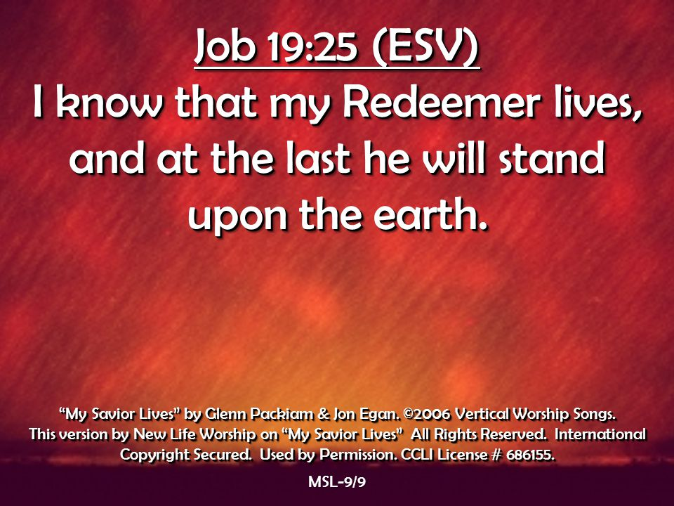 Job 19:25 (ESV) I know that my Redeemer lives, and at the last he will stand upon the earth.