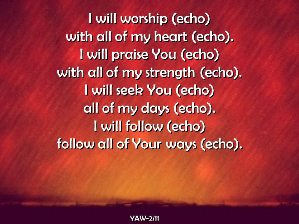 with all of my heart (echo). I will praise You (echo)