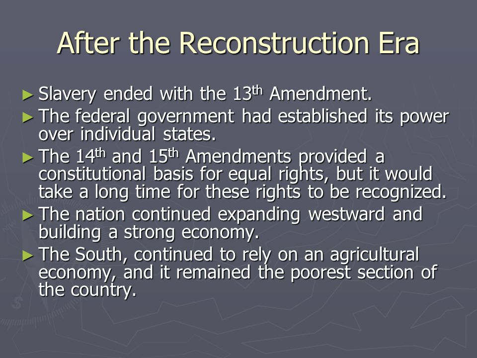 the reconstruction era and its effects Title: reconstruction overview task developer: ms hamlette grade and content area: grades 9 - united states history scope and sequence: internal conflict and edification- civil war and reconstruction.