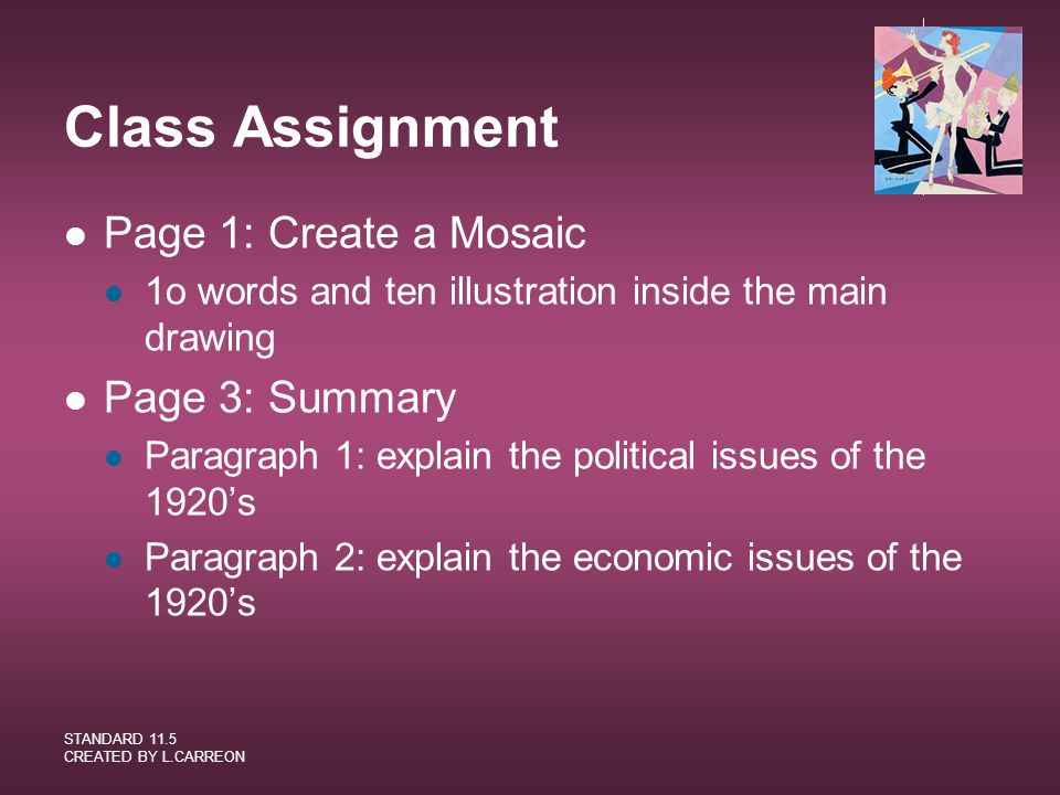 Class Assignment Page 1: Create a Mosaic Page 3: Summary