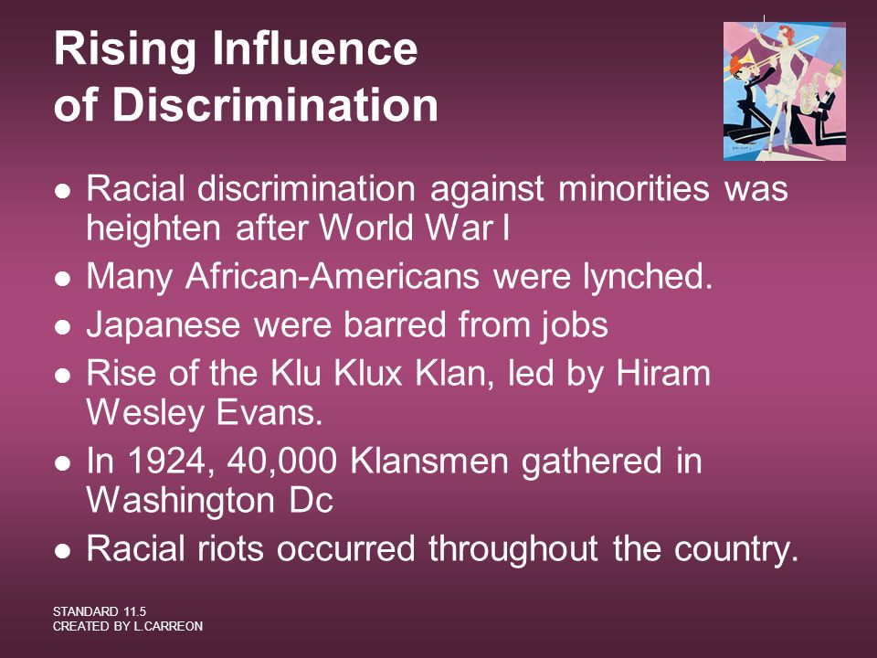 Rising Influence of Discrimination
