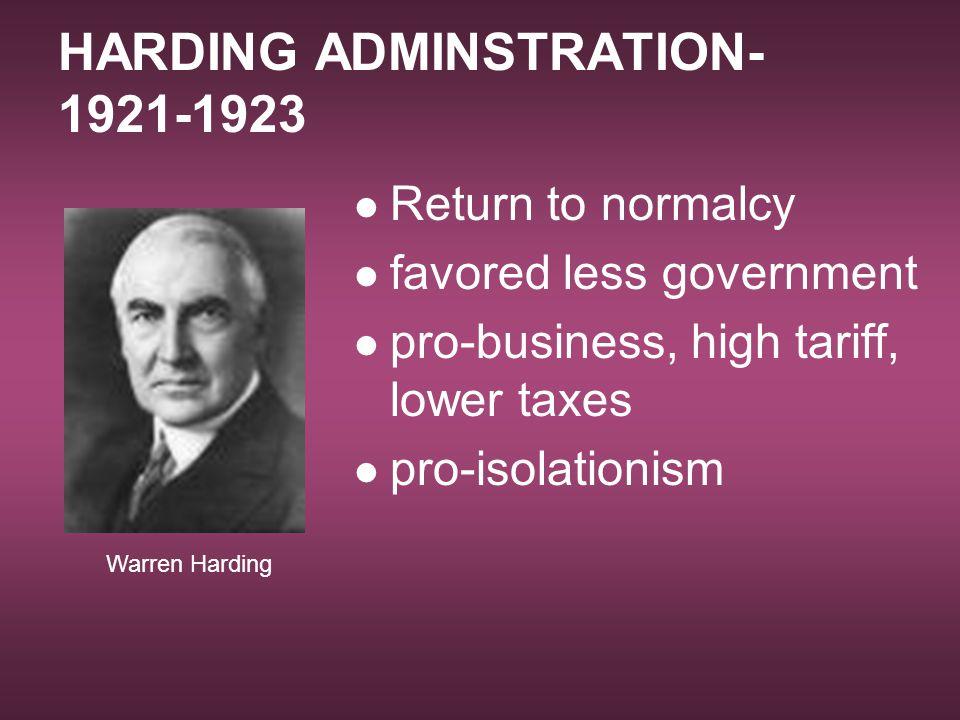 HARDING ADMINSTRATION-1921-1923