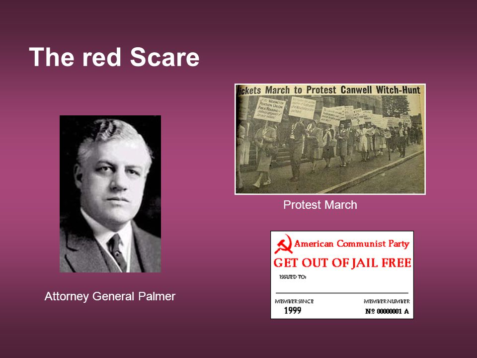 The red Scare Protest March Attorney General Palmer