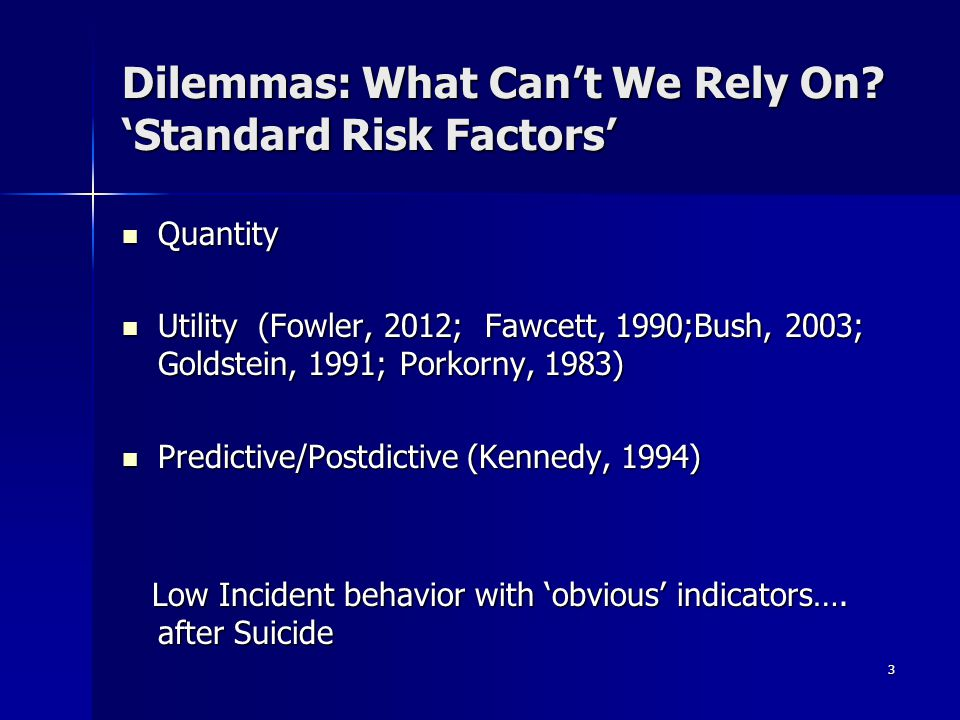 Dilemmas: What Can't We Rely On 'Standard Risk Factors'