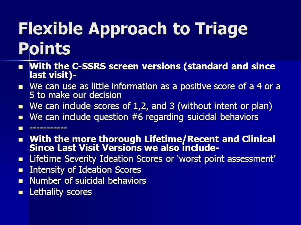 Flexible Approach to Triage Points