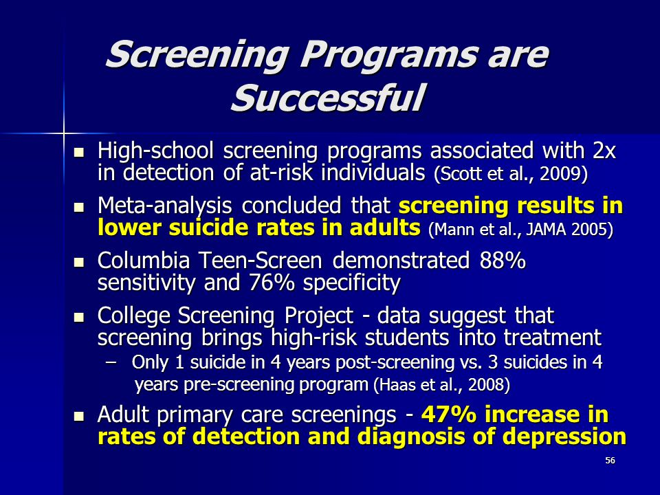 Screening Programs are Successful