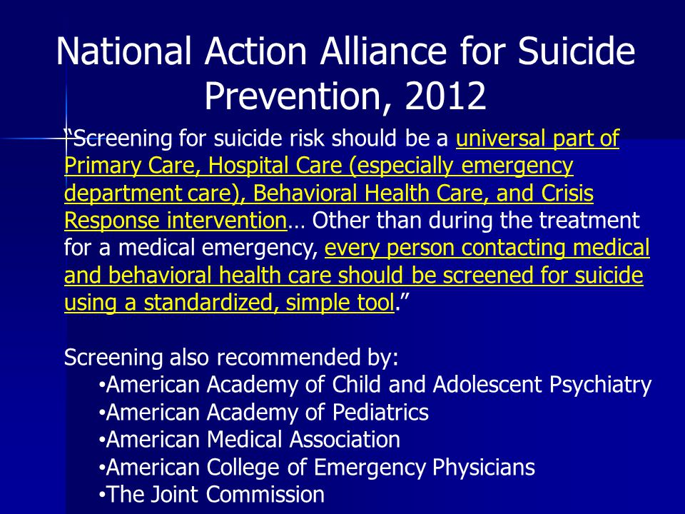 National Action Alliance for Suicide Prevention, 2012