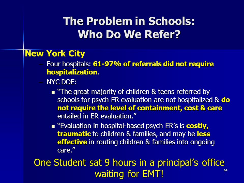 The Problem in Schools: Who Do We Refer