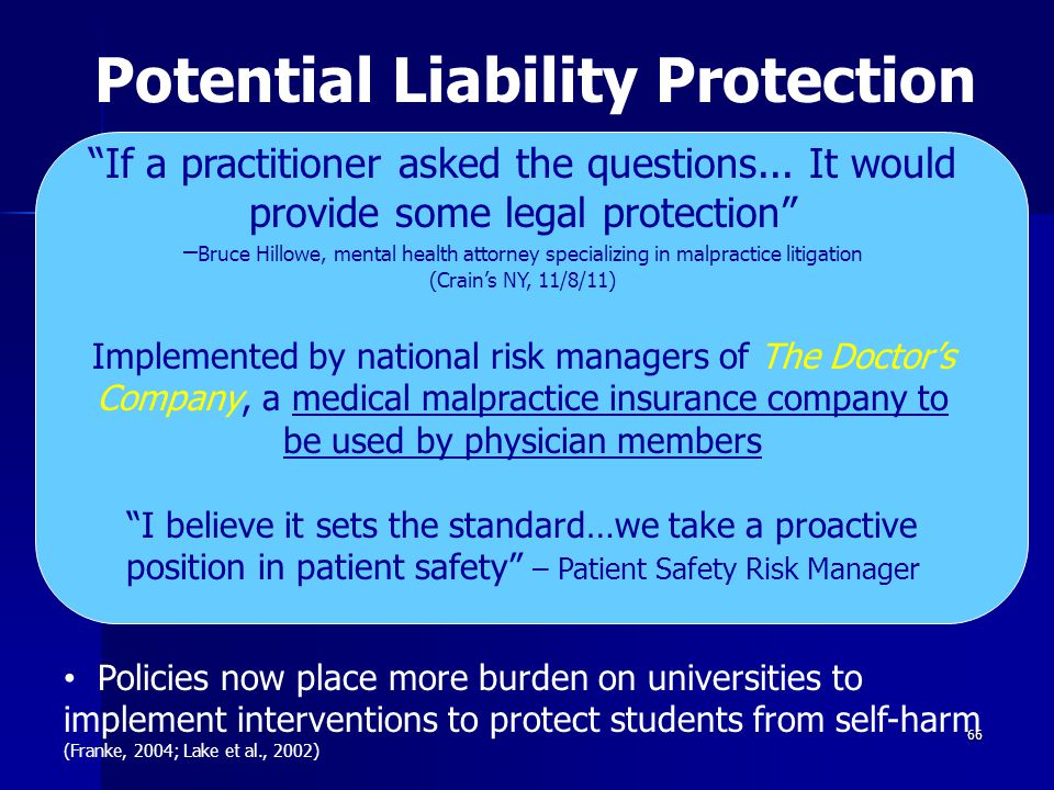Potential Liability Protection