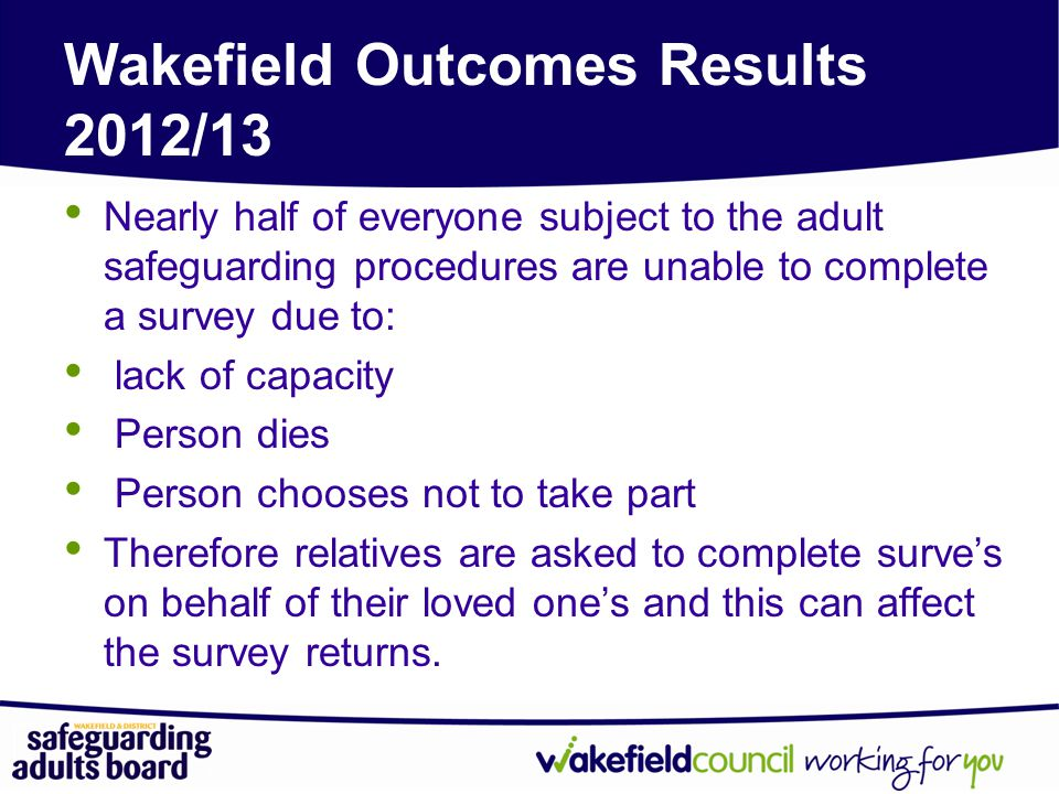 Wakefield Outcomes Results 2012/13