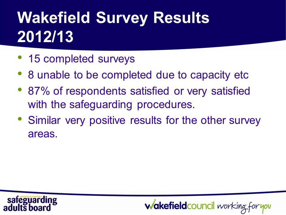 Wakefield Survey Results 2012/13