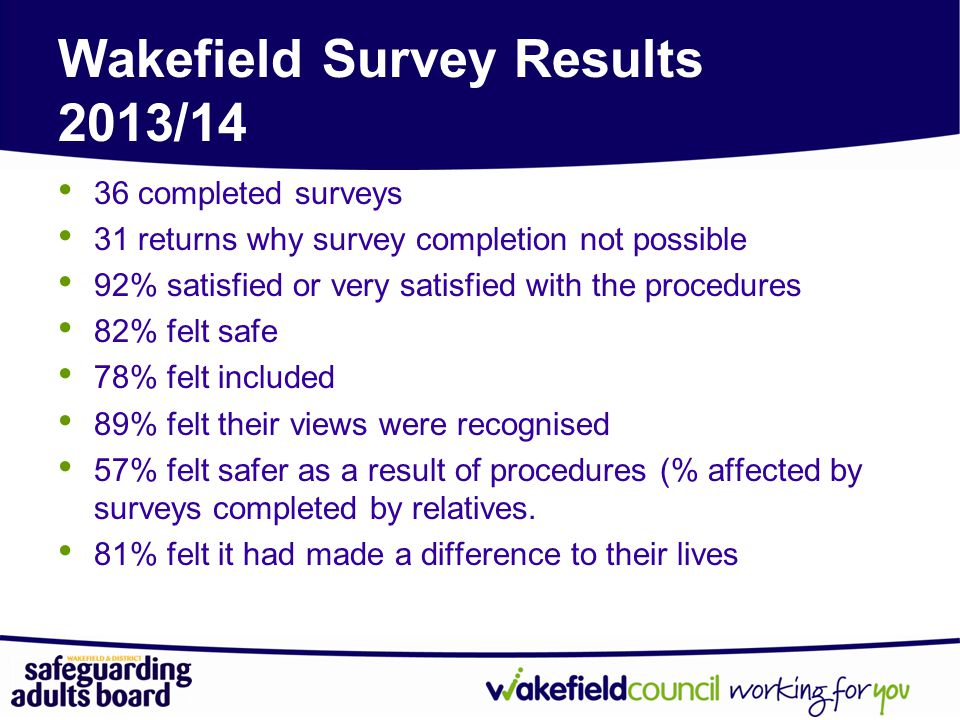 Wakefield Survey Results 2013/14