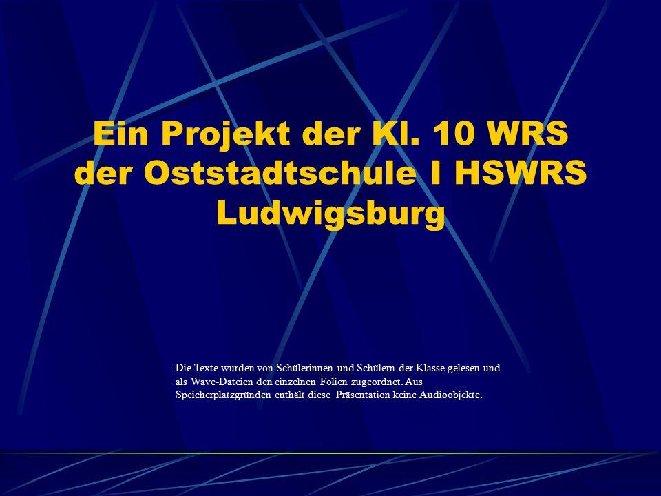 Ein Projekt der Kl. 10 WRS der Oststadtschule I HSWRS Ludwigsburg